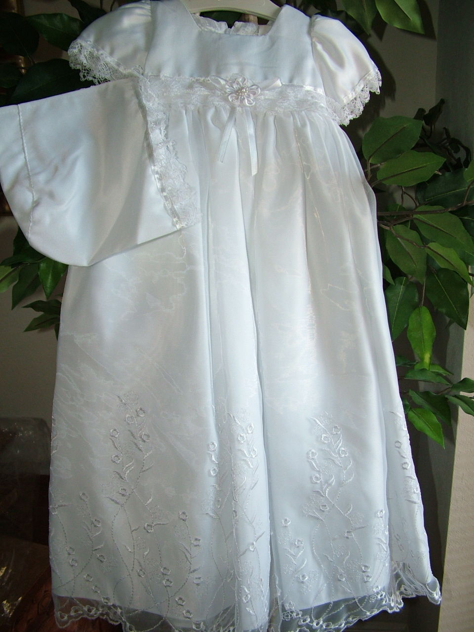 Image 0 of Baby Girls Embroidered Whites Christening Boutique Polyester Dress Set, S Square