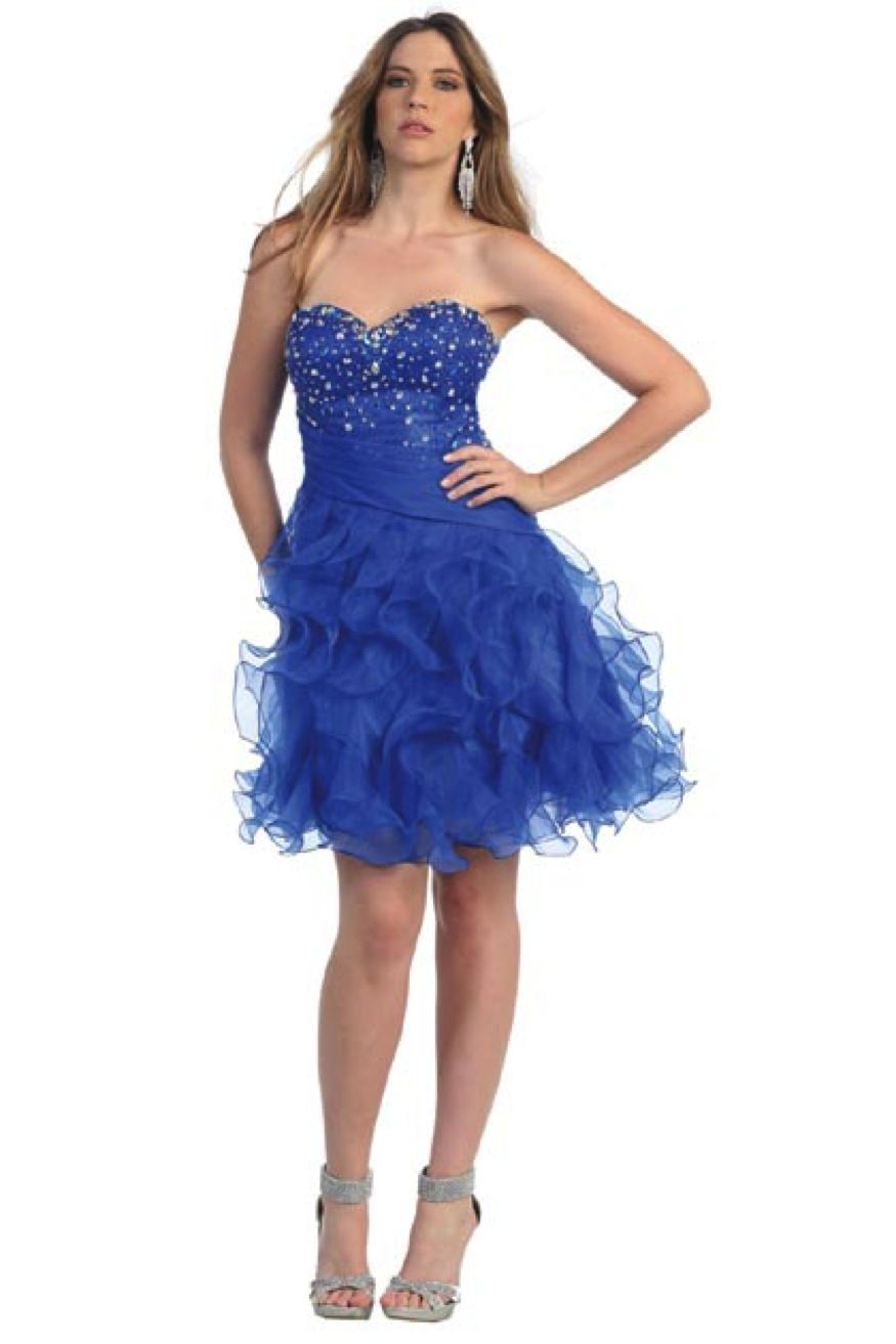 Image 0 of Sexy Strapless Beaded Bodice Ruffled Skirt Short Prom Party Missy Formal Dress -