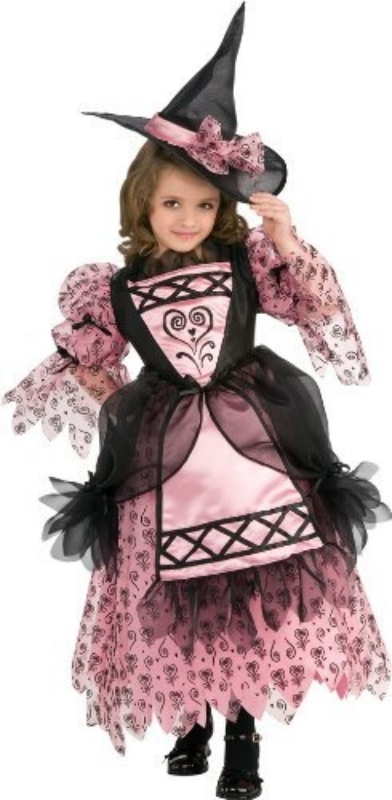 Image 0 of Adorable Rubie's Deluxe Sweetheart Witch Pink and Black Costume - Large 12-14