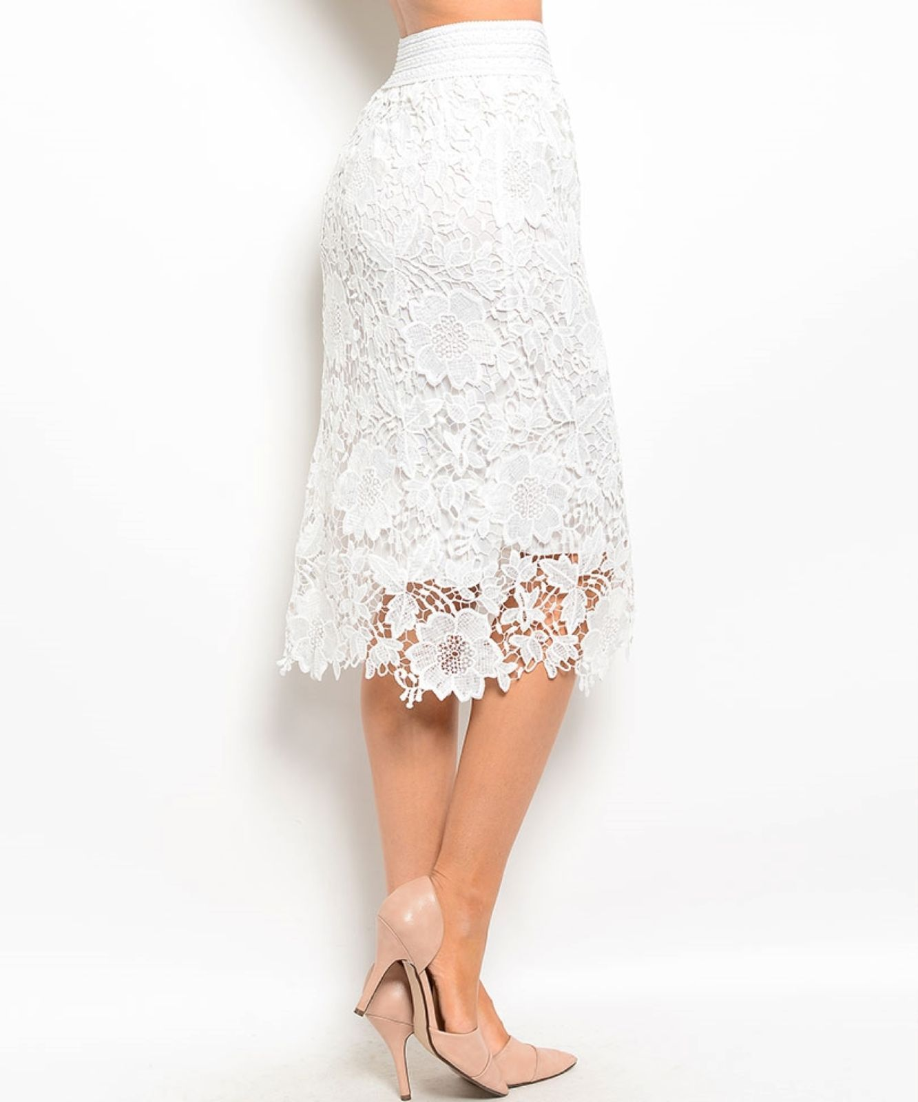 Image 5 of Chic Crochet Lace Lined Jr Skirt, Cocktail Club Party, Black, Ivory or White - B