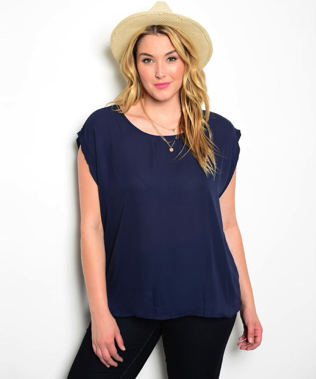 Image 1 of Sexy Romantic Flirty Navy Blue Chiffon Plus Party Club Tunic Top, Peep Open Back