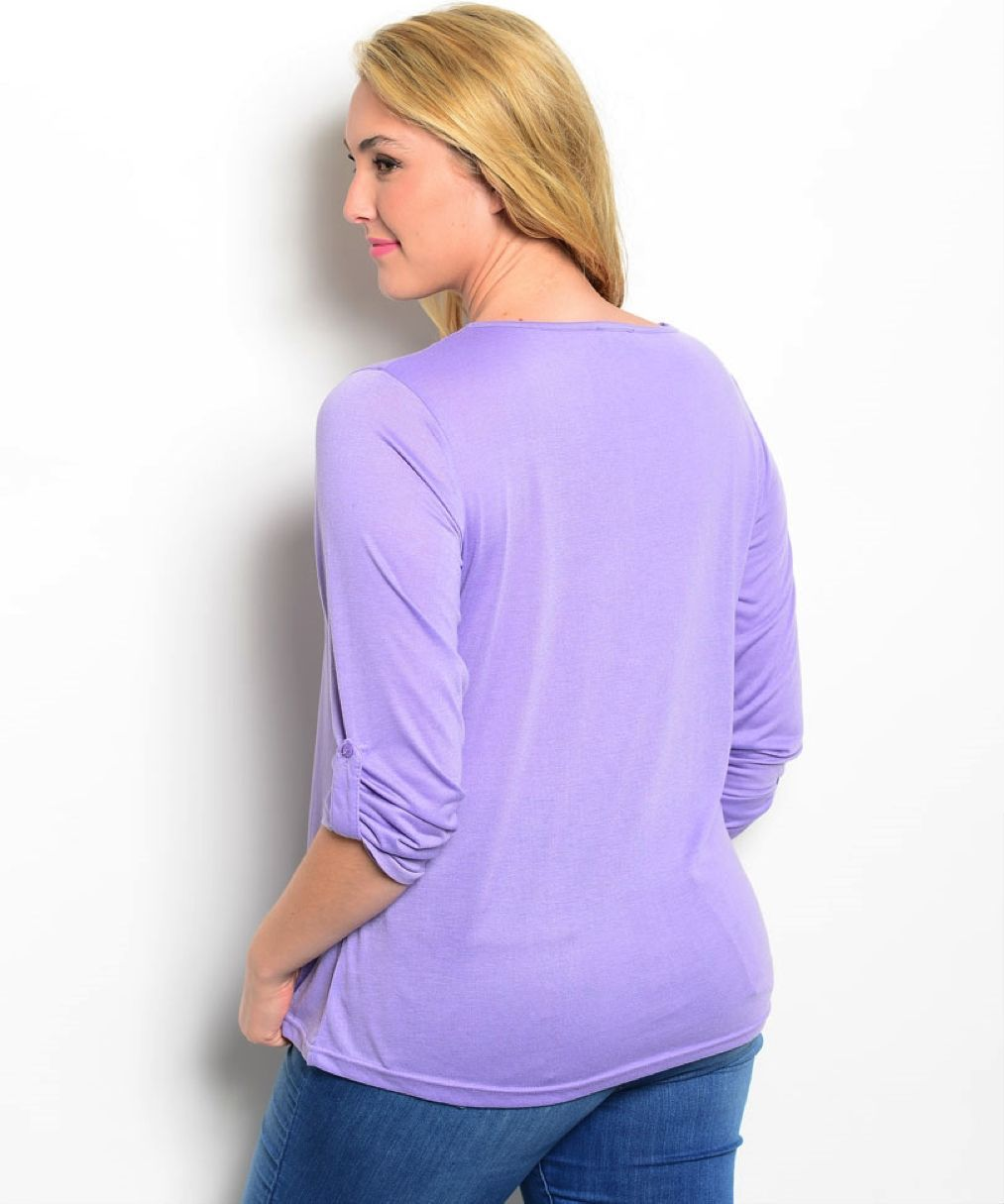 Image 1 of Romantic Purple Polyester 3/4 Plus Sleeves Tunic Top, Embellished Neckline - Pur