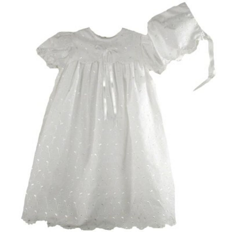 Image 1 of Precious Sweet Petit Ami Lined Cotton Eyelet Christening Scalloped Yoke Hat Set