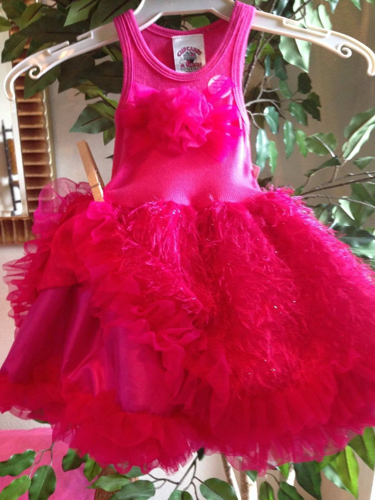 Image 4 of Posh Sparkly Fuchsia Eyelash Chiffon Pink Tutu Dress, 6M-5/6 USA Cupcakes Kisses