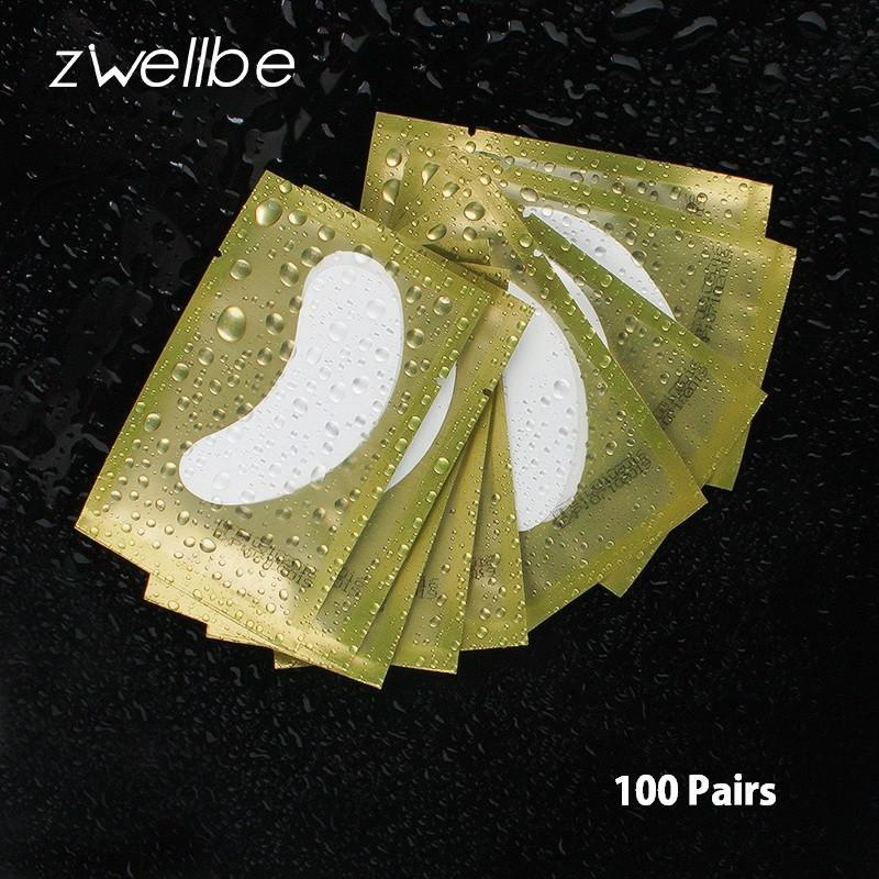 100pairs/pack Eyelash Extension Paper Patches Grafted Eye Stickers Golden Eyelas - Golden