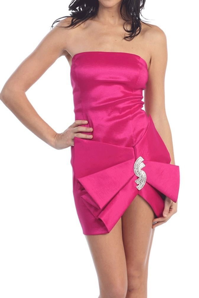 Image 3 of Sexy Strapless Maria Bonita Short Party Prom Dress w/Rhinestone Ribbon Accent -