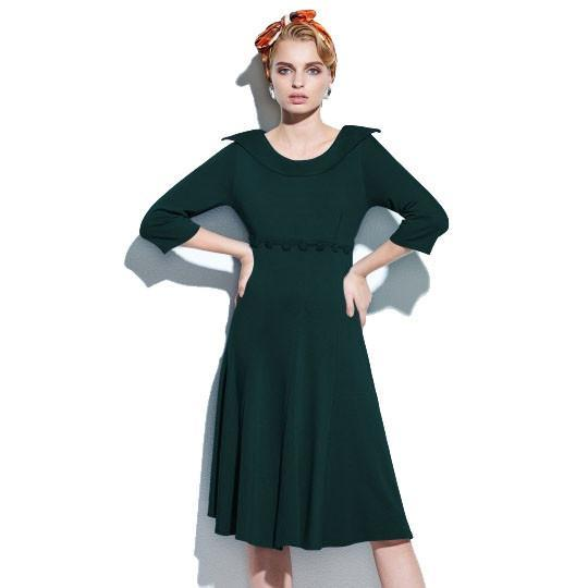 1950's 1960's 3/4 Sleeve Women's Vintage Dress - Green - S