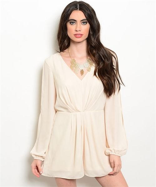 Image 0 of Sexy Cream Party Cruise Short Polyester Long Split Sleeve Romper Jrs S, M or L -