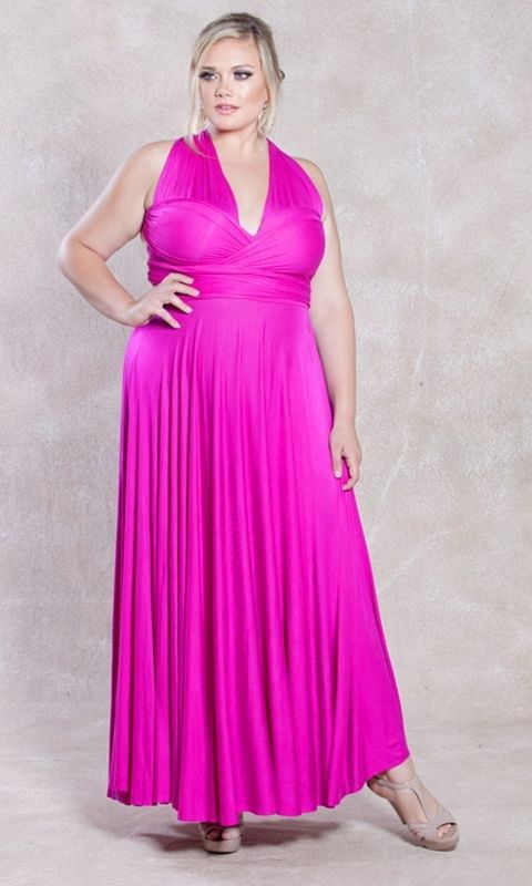 Image 1 of SWAK Designs Sexy Eternity Wrap Maxi Party Cruise Dress, Posh Plum or Pink