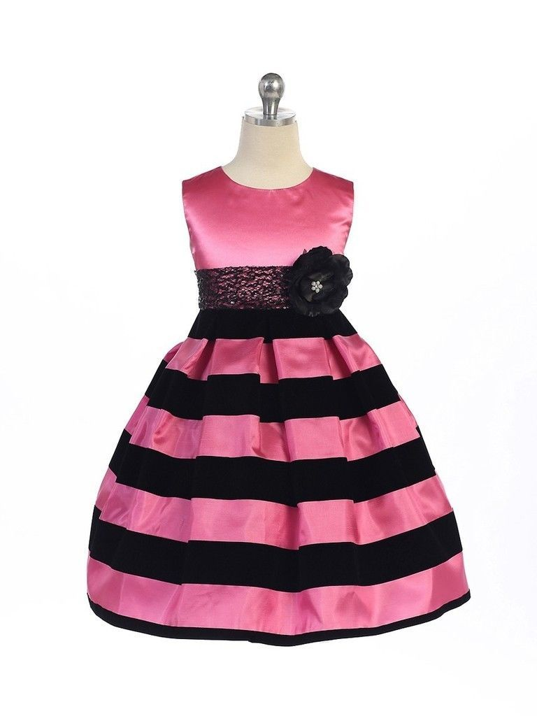 Posh Hot Pink Black Stripes Pageant Flower Girl Dress Crayon Kids USA - Hot Pink