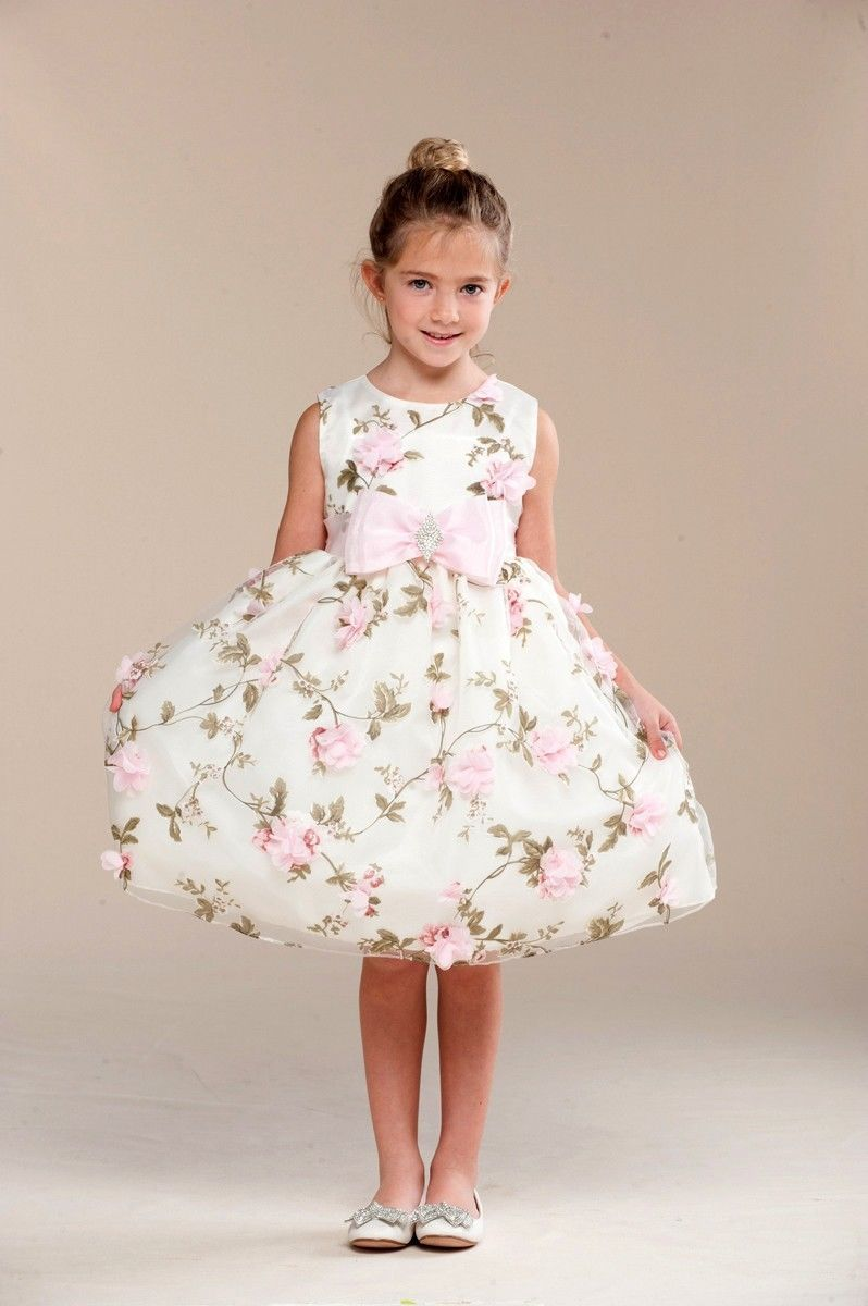 Image 0 of Posh Sweet Ivory Floral Embroidered Flower Girl Party Dress, Crayon Kids USA - 4