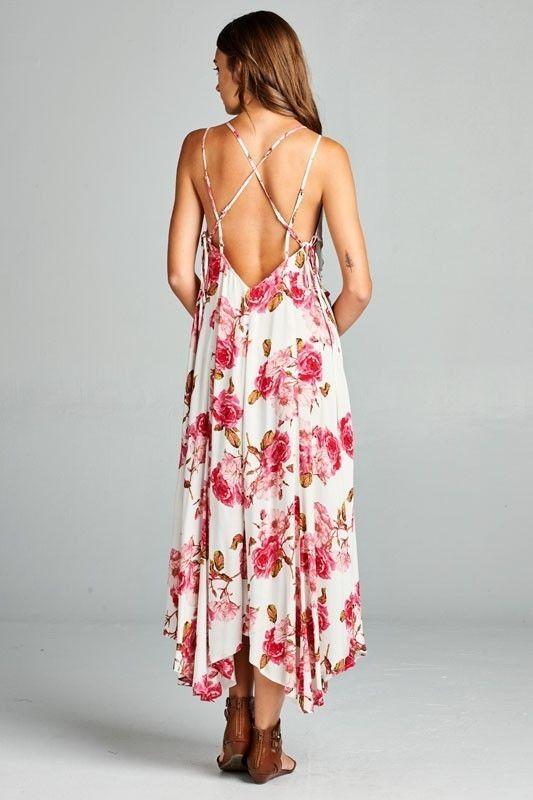 Image 2 of Flirty Boho Ivory Pink Floral Spaghetti Side Lace-up Party Cruise Maxi Jr Dress