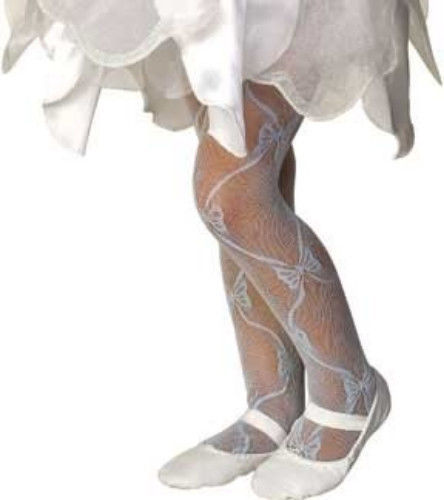 Image 1 of Rubies Girl's Fancy Fashion Dance Mesh Bow Tights - White, Blue, Pink, Lilac