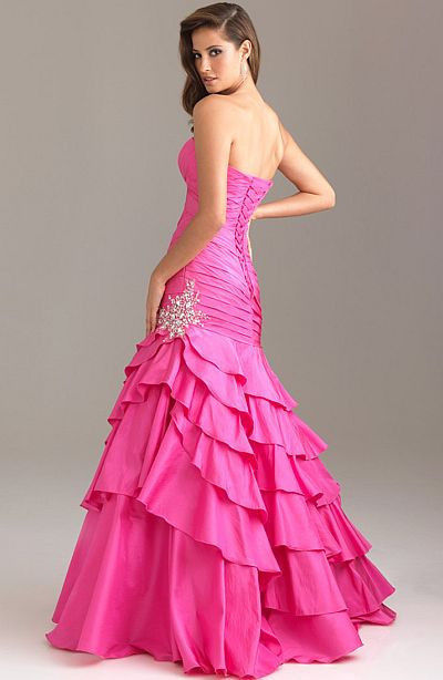 Image 5 of Sexy Strapless Fuchsia Pink Mermaid Prom Pageant Evening Gown Dress, Night Moves