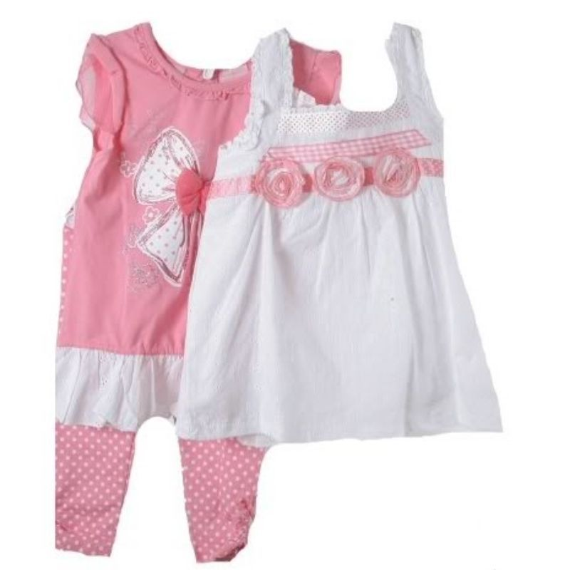 Image 2 of Precious Little Girls Pink & White 3 Pc Boutique Lace Tops/Leggings Set Nannette
