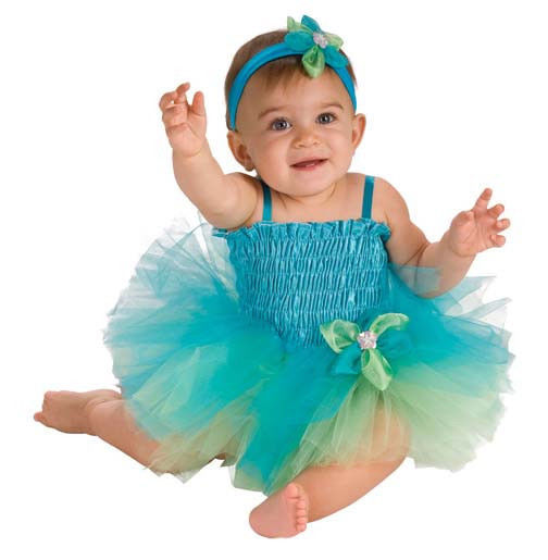 Image 2 of AdOrAbLe Baby Girl Ballerina Tutu Complete Costume Aqua 6-9M Rubies -