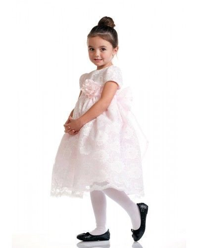 Image 1 of Stunning Ivory Lace/Pink Satin Christening Flower Girl Dress w/ Flower USA - Pin