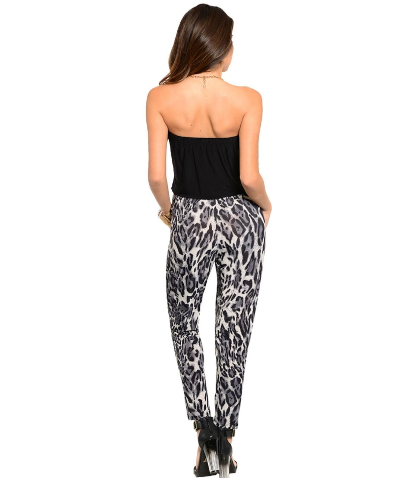 Image 1 of Playful Sexy White Black Leopard Jrs Party Romper, Strapless Black Top, S, M, L