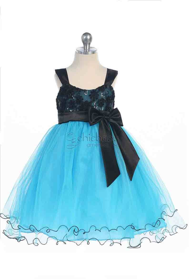 Stunning Girl's Chic Turquoise/Black Flower Girl Pageant Party Dress, USA - Turq