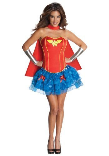 Image 0 of Rubies Womens Dc Comics Wonder Woman Flirty Corset Halloween Themed Fancy Dress,