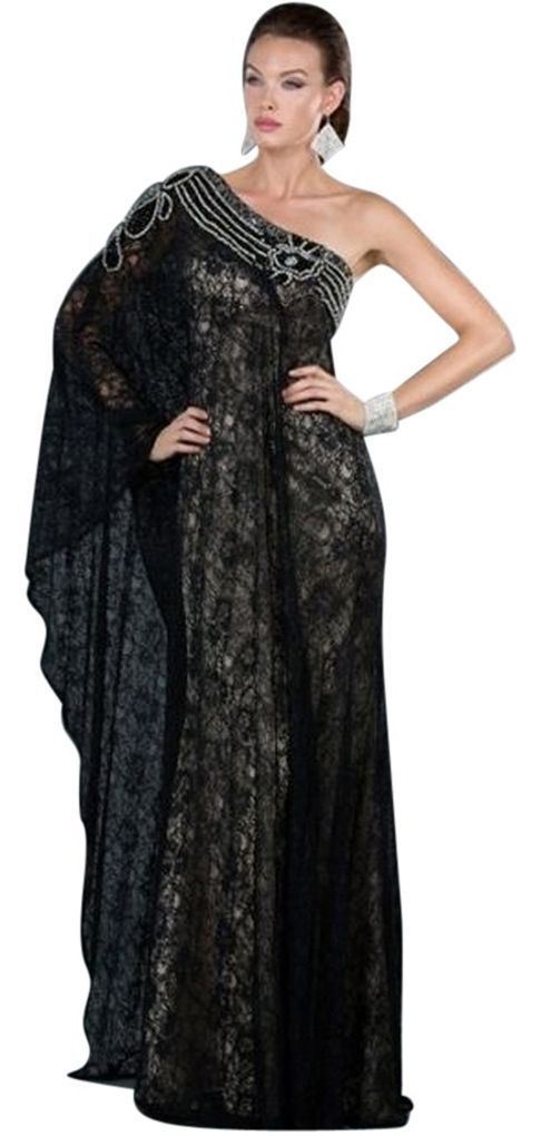 Image 0 of Sexy One Shoulder Grecian MOB Prom Black or Ivory All Over Lace Lined Dress $498