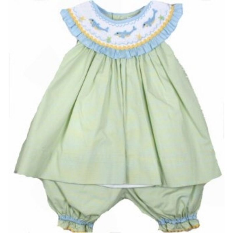 Adorable Green Aqua Petit Ami Smocked Dophin Girl Boutique Set, Angel Sleeve - 3