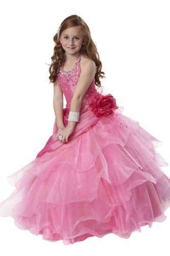 Tiffany Princess Little Girls' Beaded Ruffled Pageant/Flower Gown Dress 4 Pink