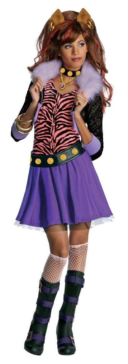 Image 0 of Posh Fashionista Monster High Clawdeen Wolf Girl Costume and Wig, Rubies - L