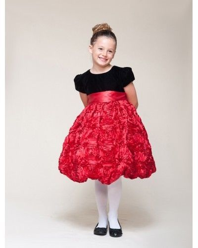 Dressy Velvet Top Swirl Floral Red Skirt Pageant Flower Girl Dress Crayon Kids -