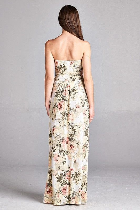 Image 1 of Sexy Maxi Boho Ivory Floral Strapless Dress, Vanilla Bay, S, M or L - Ivory