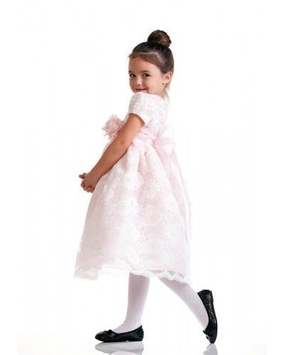 Image 2 of Stunning Ivory Lace/Pink Satin Christening Flower Girl Dress w/ Flower USA - Pin
