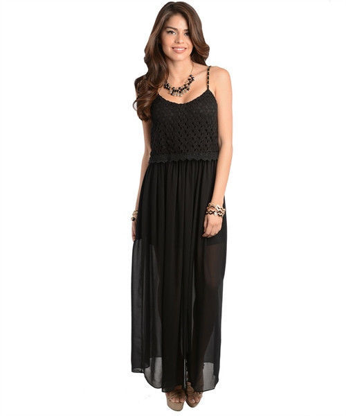 Image 1 of Sexy Long Chiffon Party Cocktail Club Cruise Dress, Black or Burgundy Red - Blac