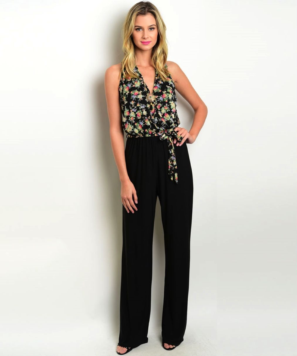 Image 0 of Sexy Black Pants, Floral Top Jrs Party Jumpsuit Romper, Polyester S, M, L - Blac