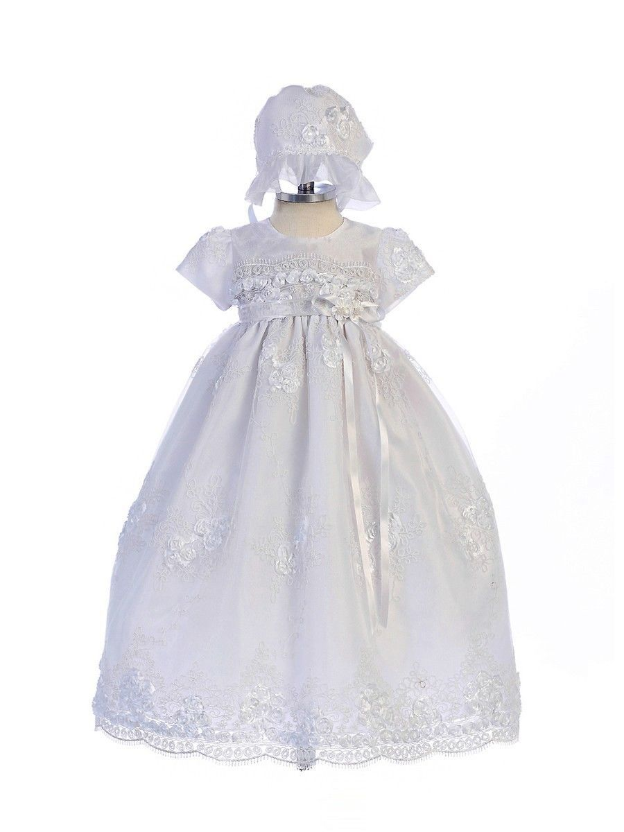 Image 0 of Exquisite Lace Detail Baby Girl Christening Dress Hat Set, Crayon Kids USA BC238