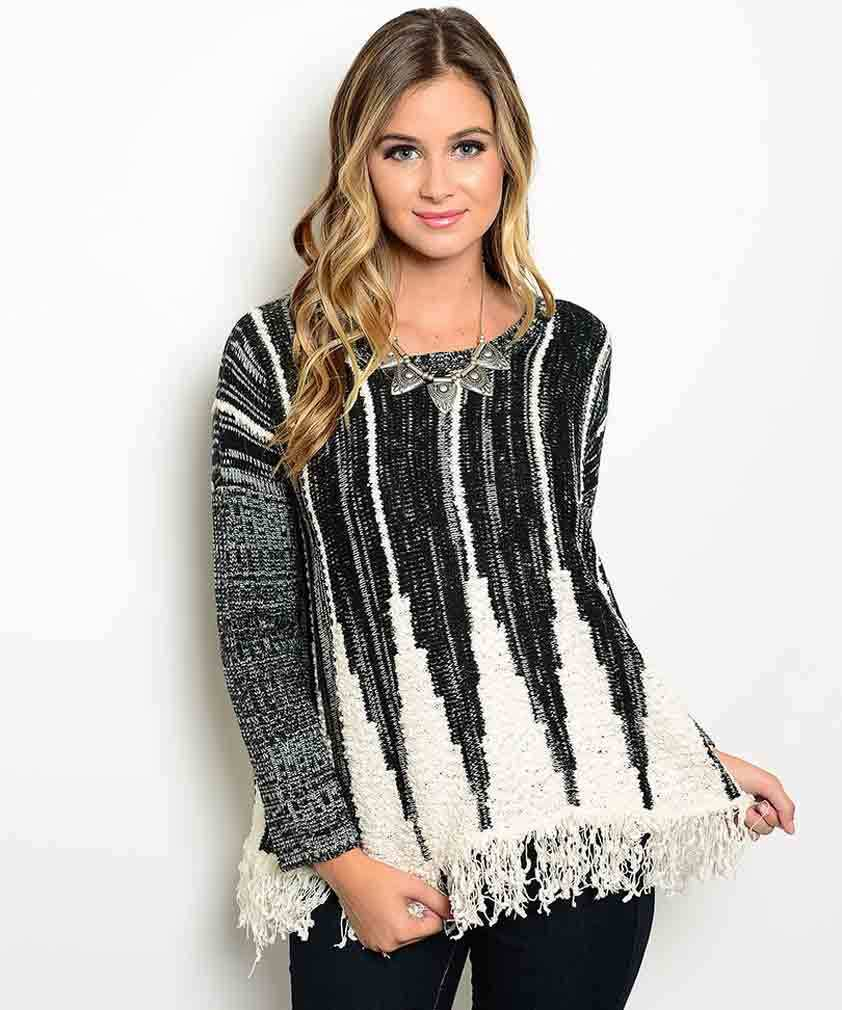 Playful Pattern Black and Ivory Acrylic Blend Pullover Fringed Sweater S/M, M/L