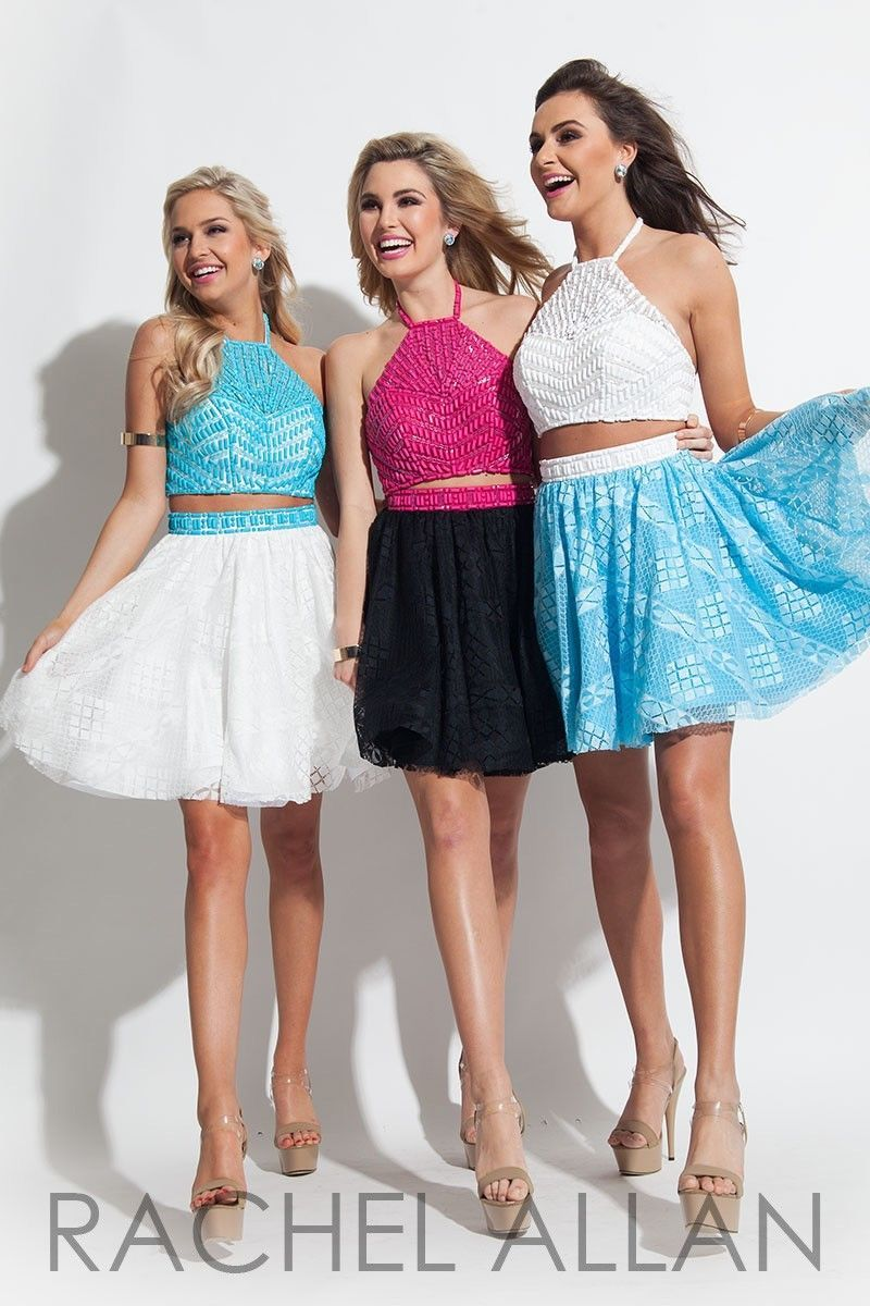 Image 2 of Beaded Lace 2-Pc White Blue Sexy Rachel Allan 4027 Short Prom Party Dress - 8
