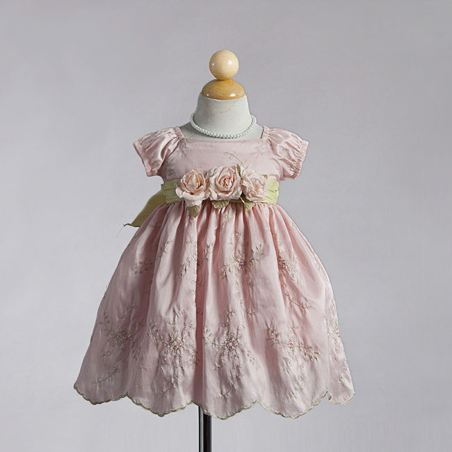Image 1 of Dressy Holiday Embroidered Pastel Pink Boutique Infant Flower Girl Pageant Dress