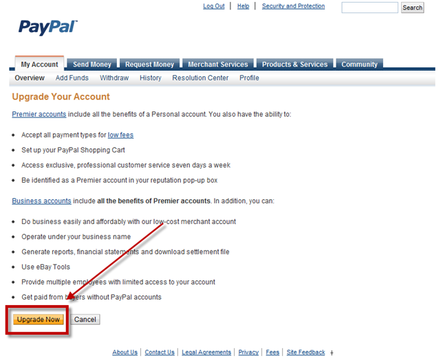 How To Change From A Personal Paypal Account Type From Personal To Premiere Or Business