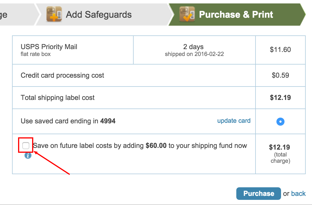 How do I buy postage and print a shipping label?